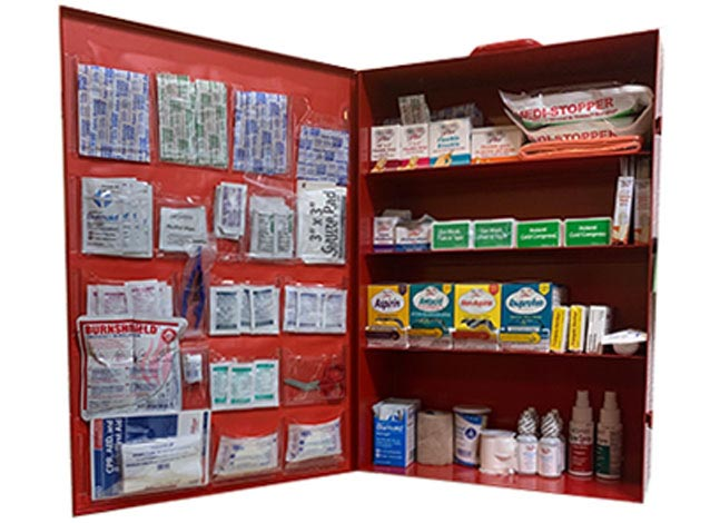 Lechner first aid supplies cabinet containing first aid supplies, ppe, and safety products.